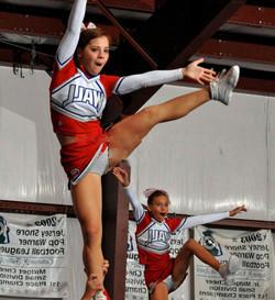 Teens cheerleaders during training..