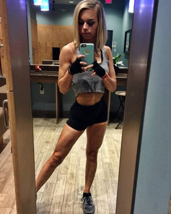 Young athletic girl posted her superb..