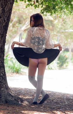 Naked skinny schoolgirl in a short..