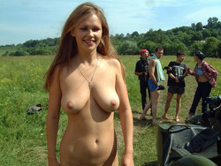Russian girl undressing in public...
